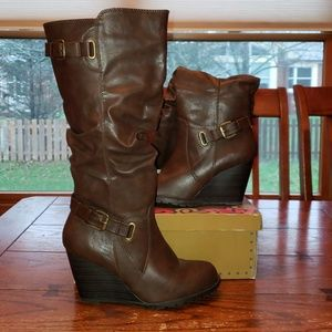 New Attitude Brown Wedge Heel Boots